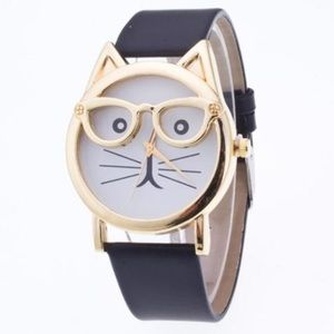 Jewelry - Golden Glasses Cat Watch